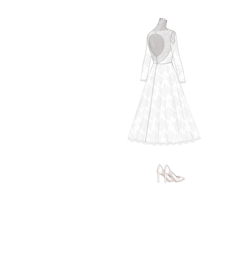 Tea Length A Line With Sweetheart Neck And Long Sleeves Wedding Dress Anomalie Online Wedding Dress